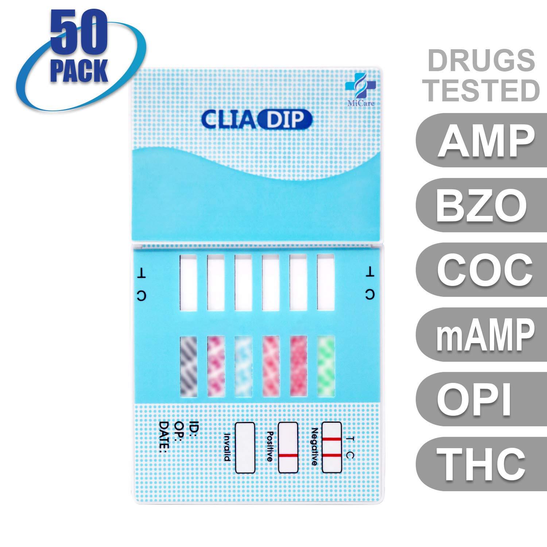 MiCare [50pk] - 6-Panel Urine Drug Test Card (AMP/BZO/COC/mAMP/OPI/THC) #MI-WDOA-264