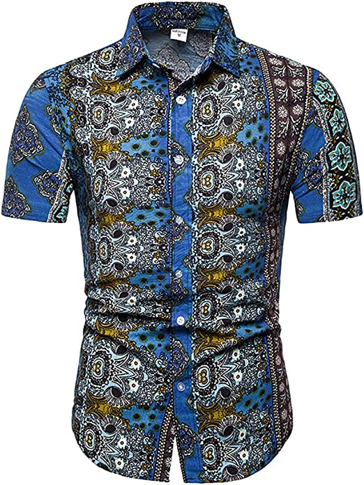W&TT Botón de los Hombres Abajo Camisa de Manga Corta Vintage Floral Vestido Camisas,Blue,XL: Amazon.es: Hogar