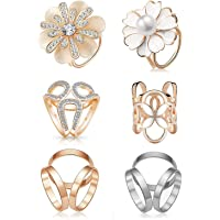 6pcs Women's Fashion Flover Faux Pearl Crystal Rhinestone Scarf Ring Buckle Clip