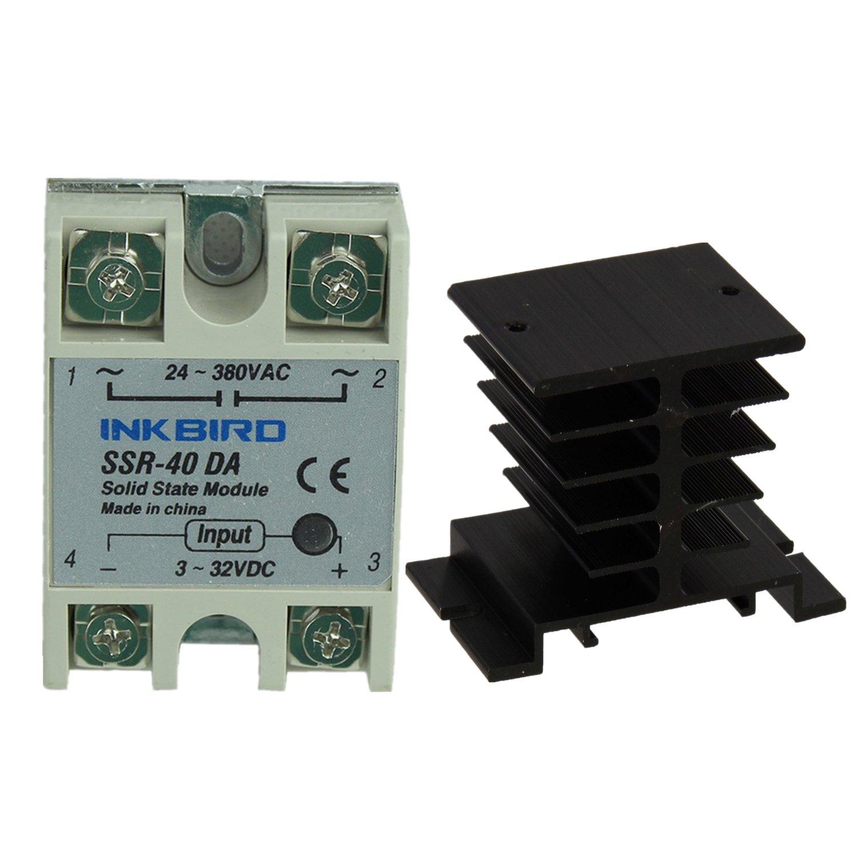 Inkbird SSR Solid State Relay + Heat Sink (Inkbird SSR-40DA, Black Heat Sink)