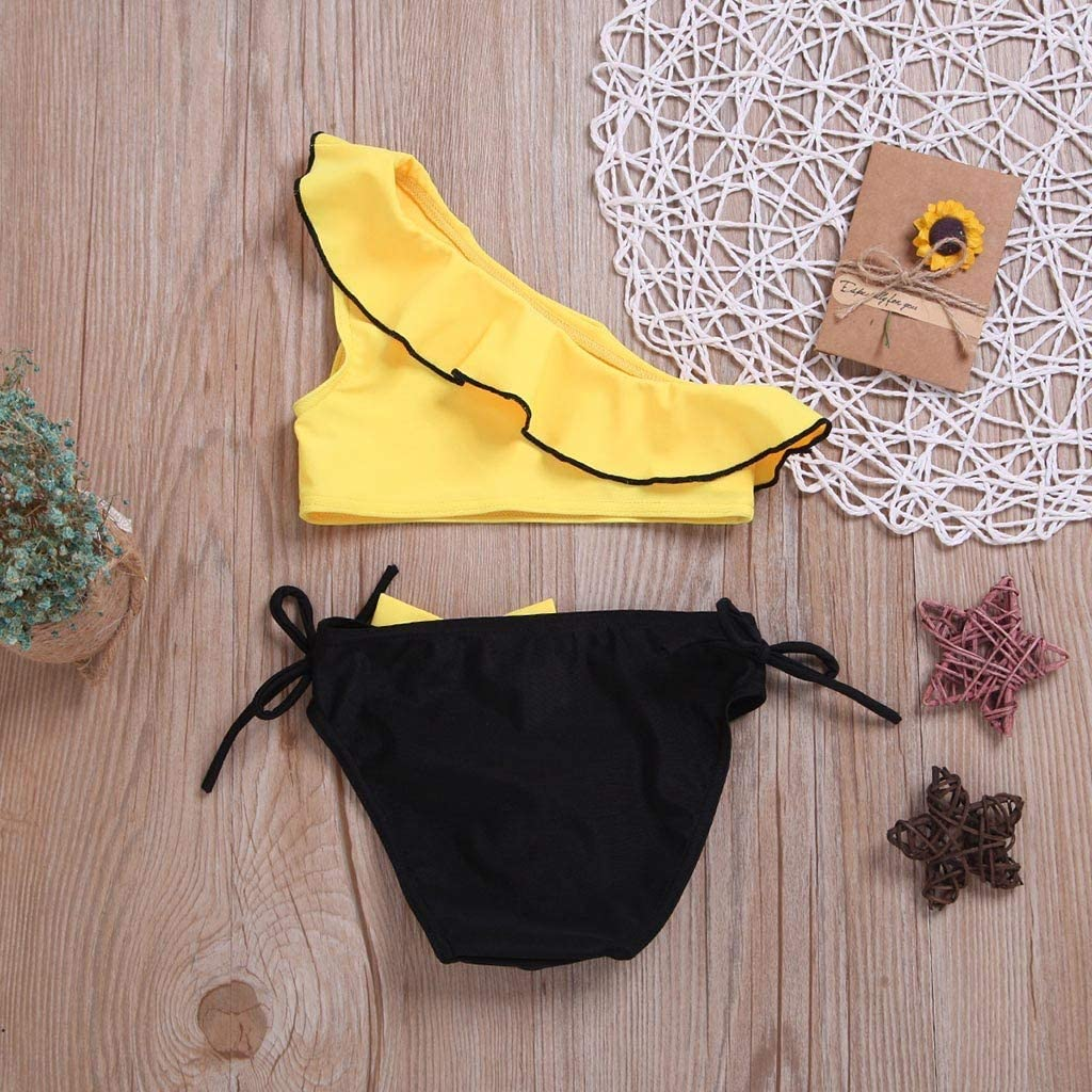 6-12 Months, Blue Baby Little Girls One Shoulder Ruffles Swimsuits Summer Two Piece Swimwear Bathing Suit