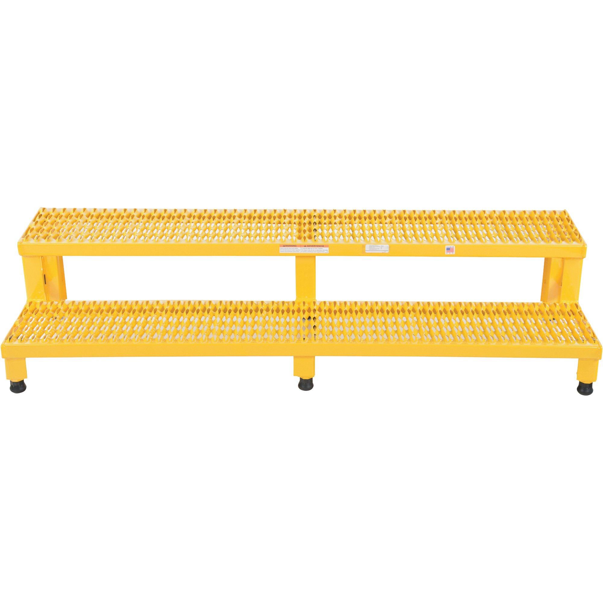 Vestil ASP-60 Steel Adjustable Step Mate Stand, 2 Step, 60'' x 23'', Yellow