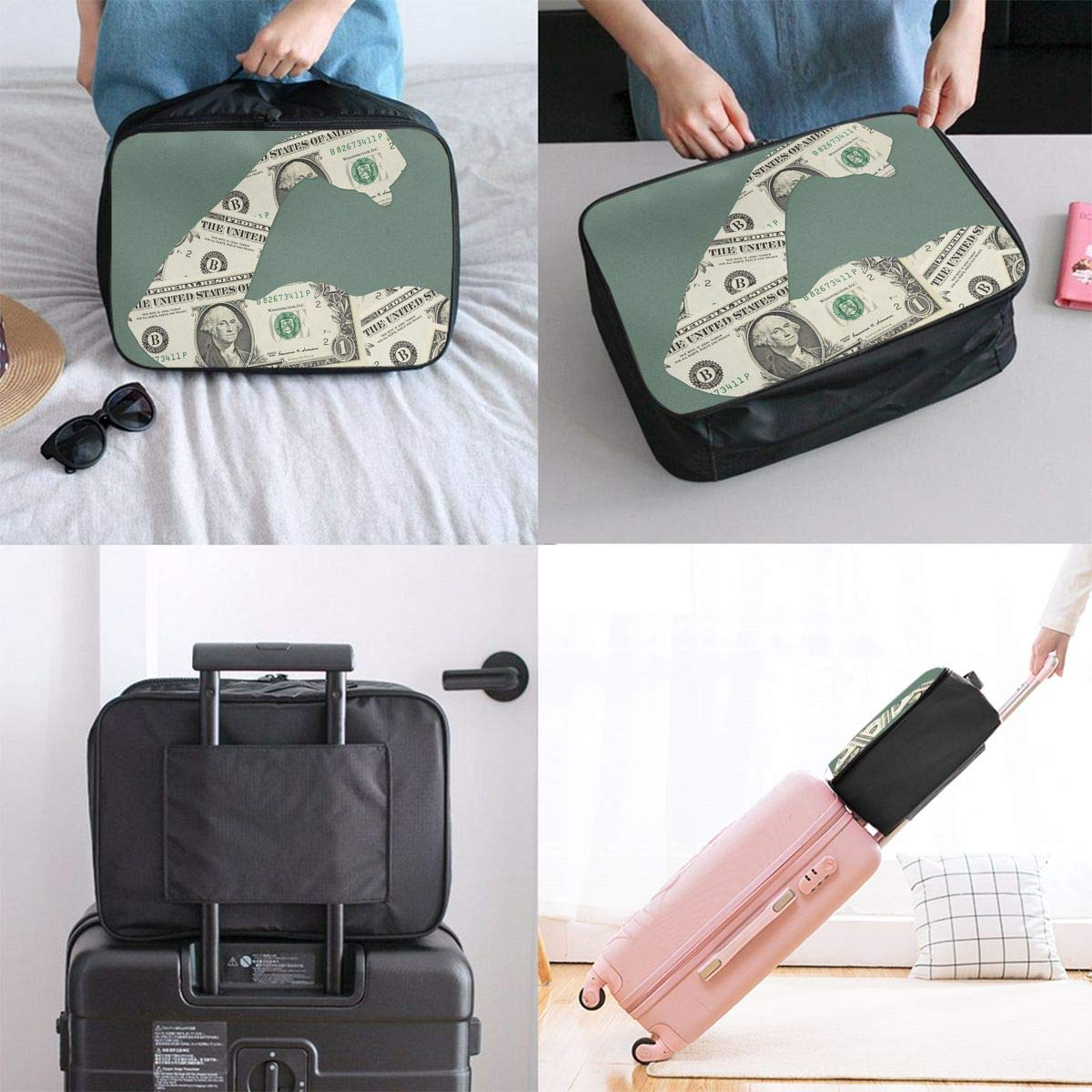 STWINW Billionaire Dollars Travel Fashion Lightweight Large Capacity Portable Waterproof Foldable Storage Carry Luggage Bag Luggage Duffle Tote Bag Hanging Travel Toiletry Bag Travel Makeup Bag