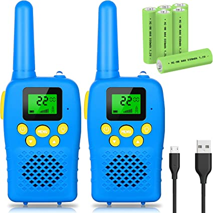 Toys for Boys and Girls Rechargeable 4 Miles Range 22 Channels 2 Way Radios with Flashlight and LCD Screen E-WOR Kids Walkie Talkies Best Birthday for 3-12 Years Old Kids
