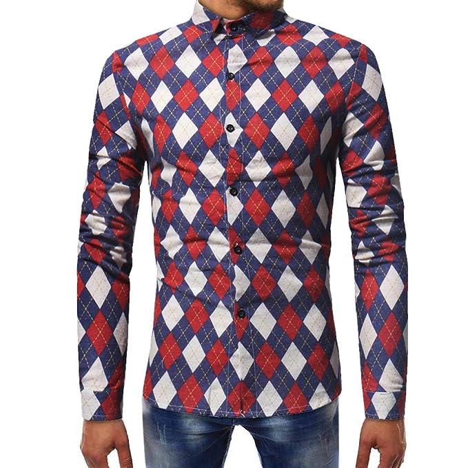 Blusa de Hombre, Polo de Hombre, Camisetas de Hombre, BaZhaHei, Camisas Ocasionales de Manga Larga Slim Tops para Hombre Blusa Impresa para Hombre de la ...