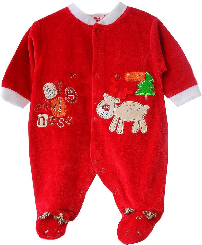 I Luve Santa Strampler Baby Nicki Overall Stramplerhose Samt Weihnachten Rot