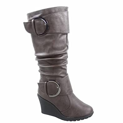 4991a274b818 TOP Moda Pure-65 Women s Fashion Round Toe Slouch Buckle Wedge Mid Calf  Boot Shoes