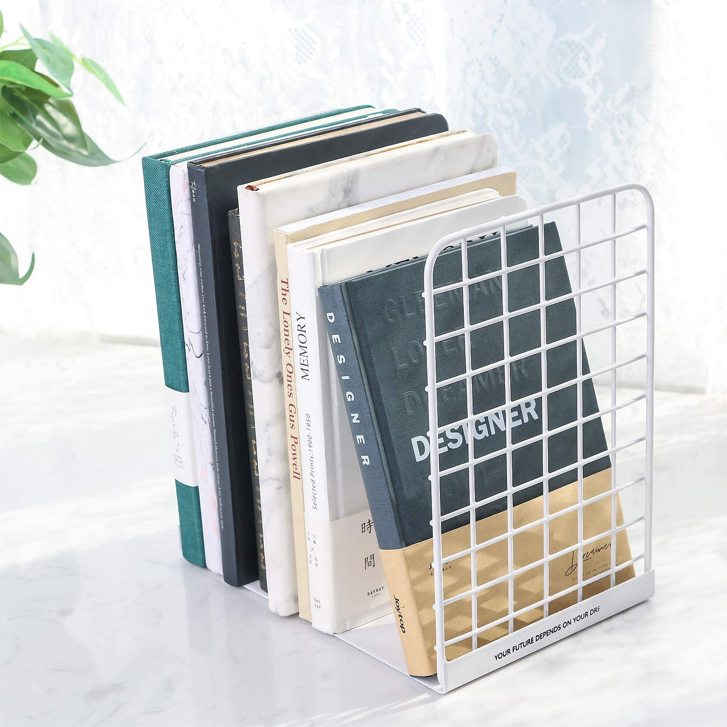 1 Pair Decorative Non-Skid Grid Book Ends for Shelves and Desktops White Home Office Book Holder Stand Nugorise Metal Bookends