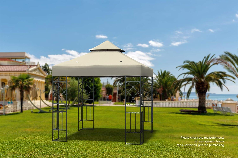Kenley Techo de Reemplazo para Carpa Estructura Gazebo Pabellón de Jardín - 3x3m - Beige: Amazon.es: Jardín