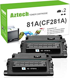 Aztech Compatible Toner Cartridge Replacement for HP 81A CF281A Laserjet Enterprise MFP M605 M604 M604N M604DN M605N M605DN M605X M630 M606 M630h M630dn M630z (Black, 2-Pack)