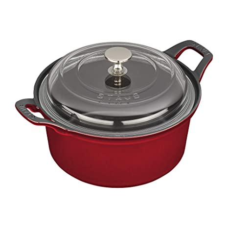Staub Cast Iron 2.75-qt Round La Coquette with Glass Lid - Cherry