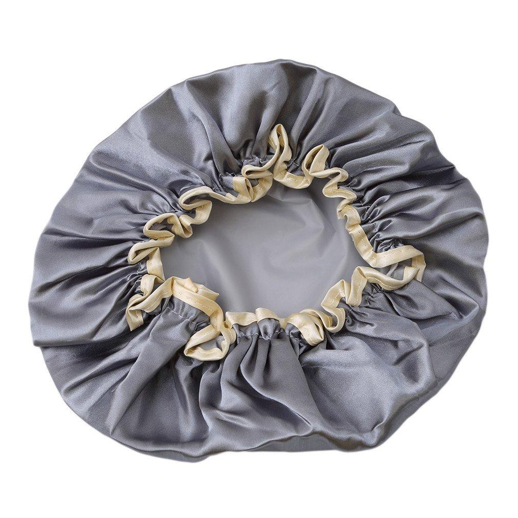 Doland Shower Cap, 1 Pc Bath Cap Designed for Women Waterproof Double Layer Satin Lined,Grey Blue