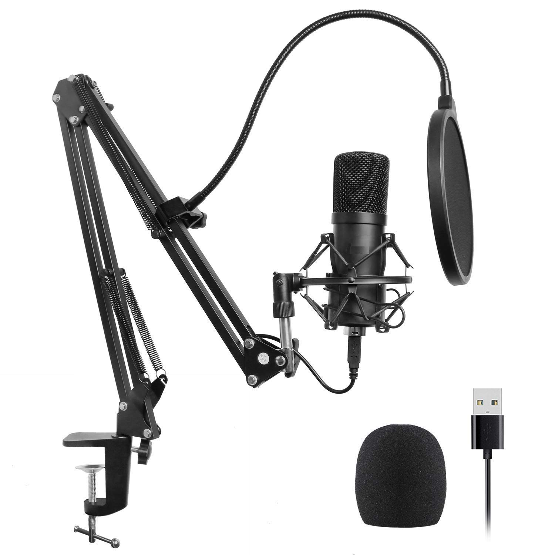 Kit de micrófono USB, micrófono de condensador cardioide USB BRENDAZ Plug & Play de 192 kHz / 24 bits para PC portátil c
