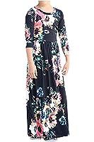 EastLife Girls Floral Flared Pocket Print Maxi Dresses 3/4 Sleeve Holiday Long Dress