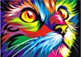 Blxecky 5D DIY Diamond Painting ,By Number Kits Crafts & Sewing Cross Stitch,Wall stickers for living room decoration,Colorful cat(14X16inch/35X40CM)