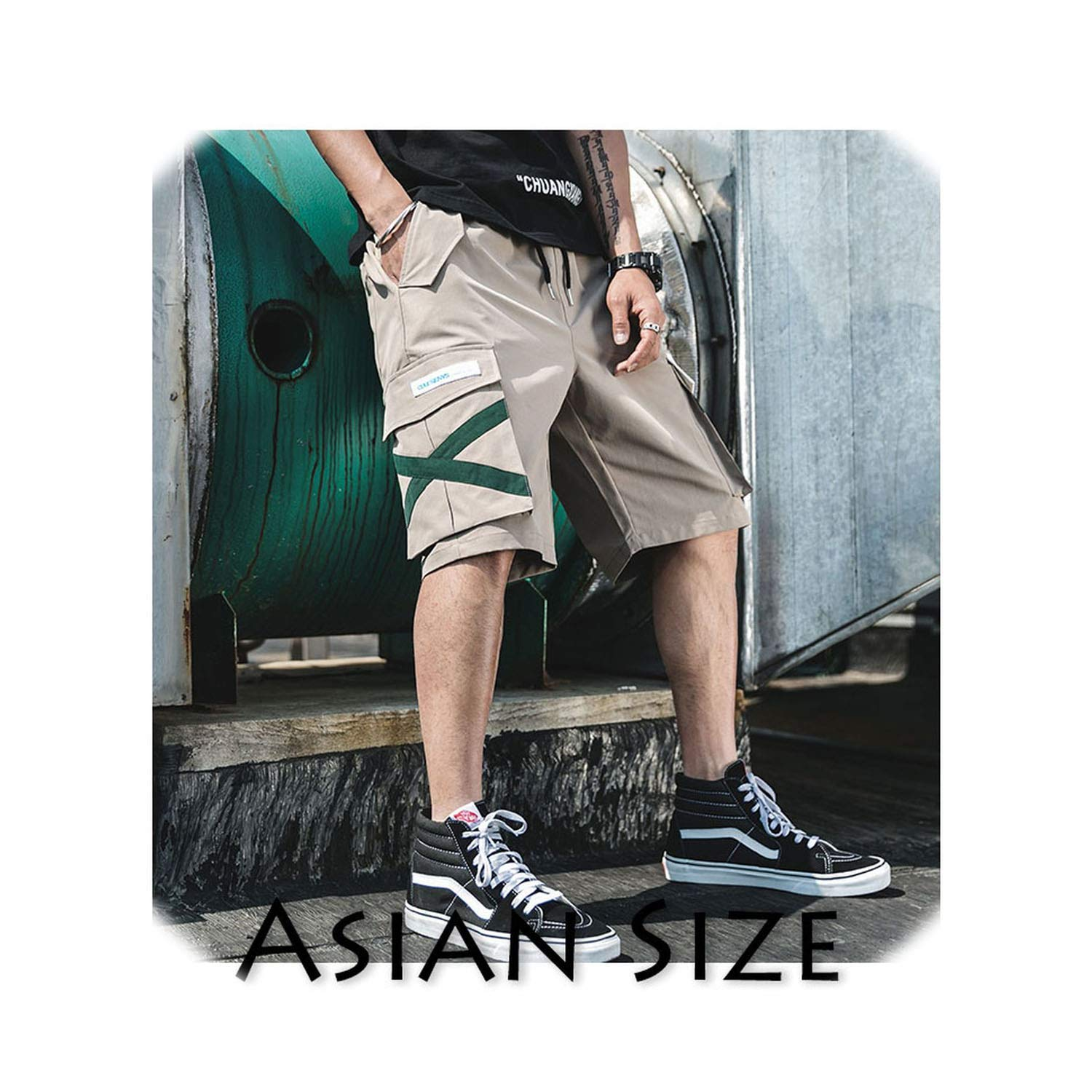 Khaki(Asian size) Get-in Get-in Get-in Men Hip Hop Shorts Summer