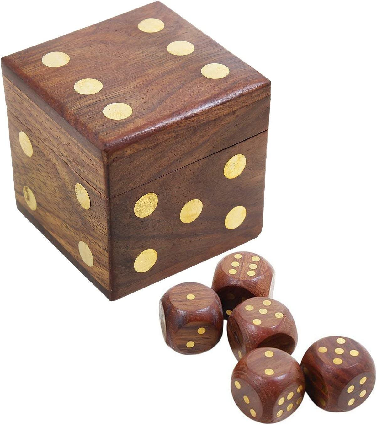 Amazon Com Willart Dice Box Set Of 5 Dices Casino Ludo Snake Ladder Game Complete Handmade Vintage 20 Mm Brown With Wooden Storage Box Handmade Square For Any Age Group Toys Games