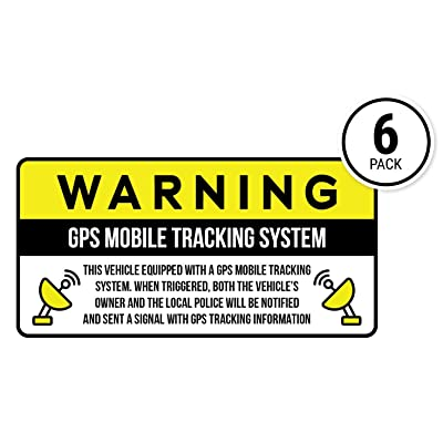 Anti-Theft Car Vehicle Stickers with GPS Tracking Warning (Pack of 6 Decals): Automotive