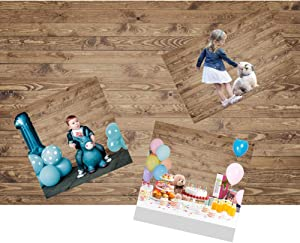 DASHAN 7x5ft Polyester Tea Party Rustic Backdrop for Photography Wood Imitation Board Cake Smash 1st Birthday Newborn Food Rustic Baby Shower Background Bridal Shower Photo Props