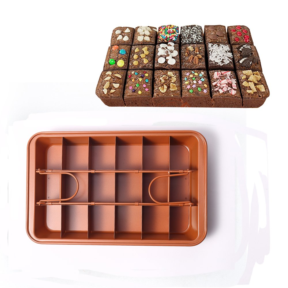 MZCH Non-stick Brownie Pan Tin with Dividers, Heavy-duty Divided Brownie Tray, 18-Cavity, 12 by 8 inches, Dark Gold