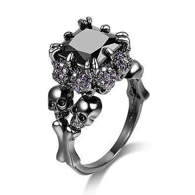DALARAN High Polish Black Skull Ring for Women Size 5 Purple Crystal All  Around Gothic Style 94782ba7f5