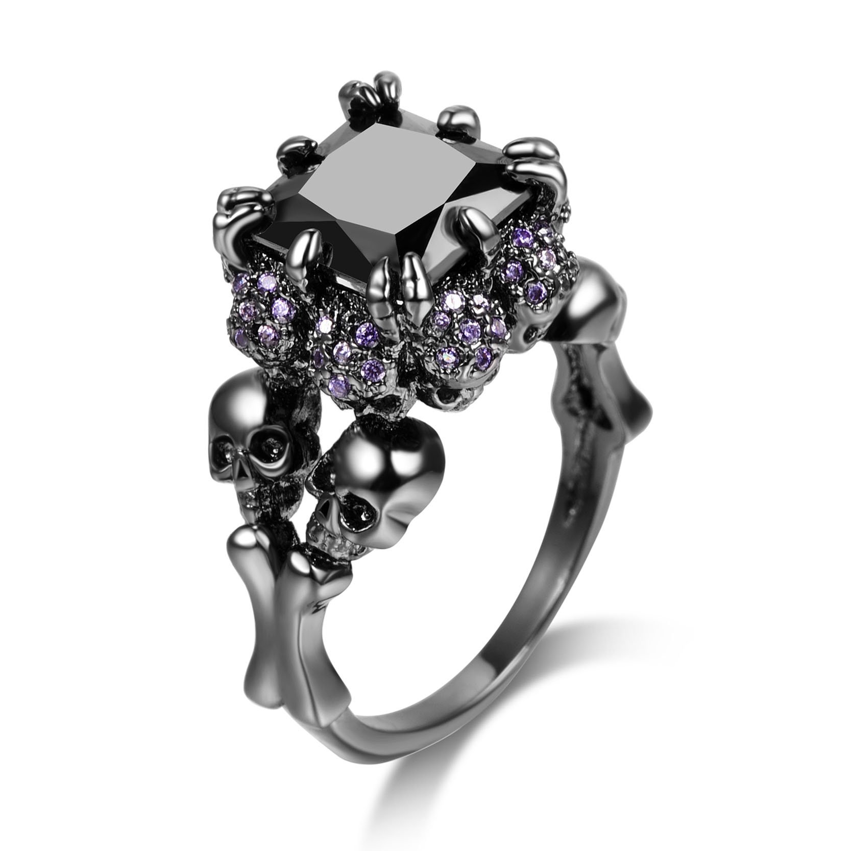 DALARAN High Polish Black Skull Ring for Women Size 5 Purple Crystal All Around Gothic Style