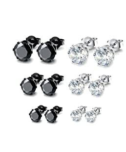 Besjewel Stud Earrings Set 3mm-5mm Hypoallergenic Surgical Stainless Steel Earings for Mens Womens, 6 Pairs