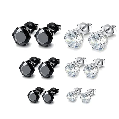 JDGEMSTONE 6 Pairs Stainless Steel Brilliant Stud Earrings Set Clear Cubic Zirconia k9G46Sh