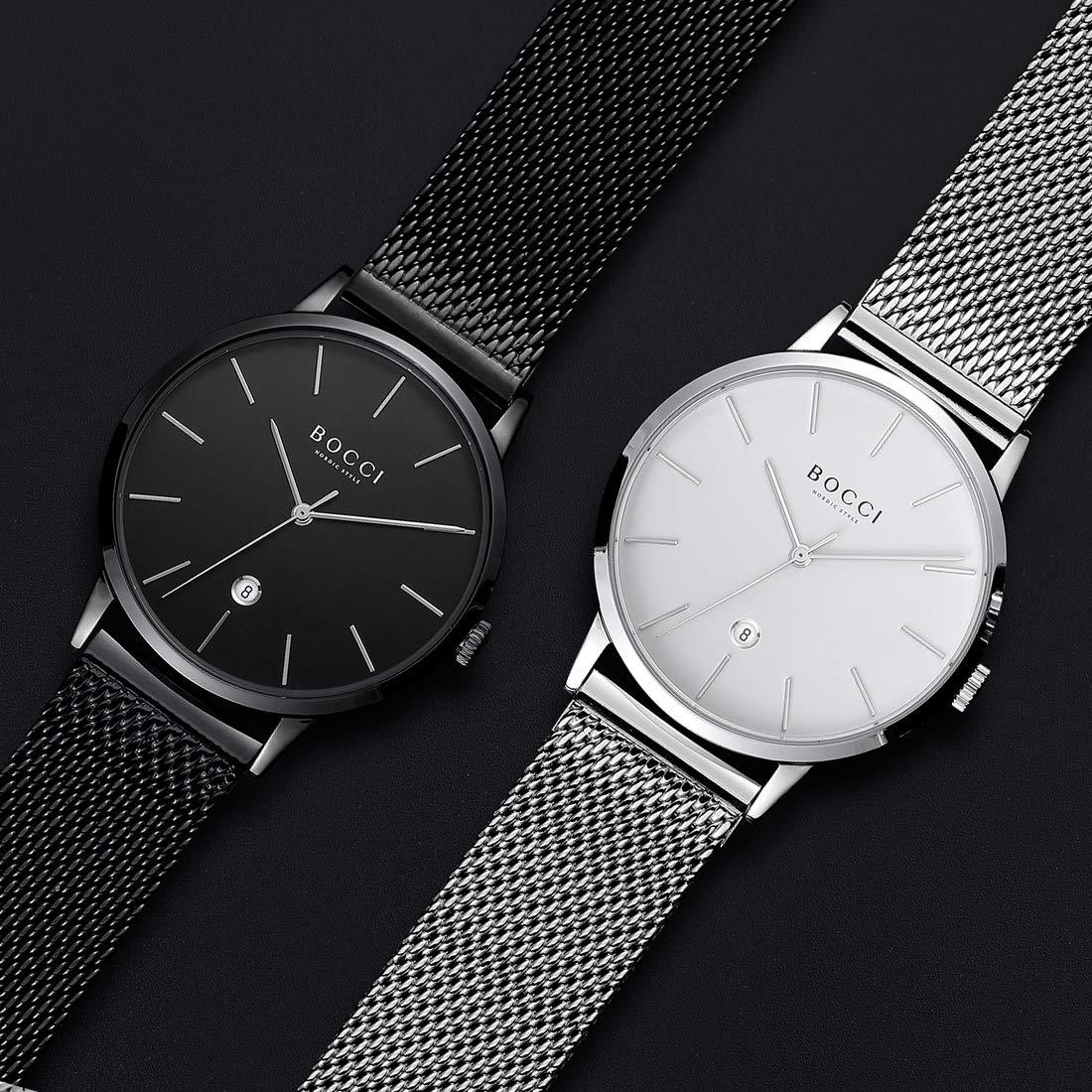BOCCI herr kvartsur mode vardagliga armbandsur ultratunna klockor för män vattentät med datum och Milanse nätband rostfritt stål … Silver-white(ms)