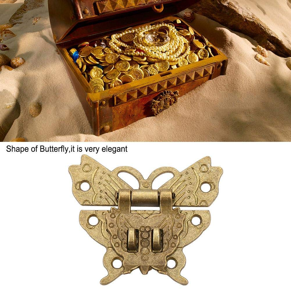 2 St/ück Schmetterling Schnalle Haspe Holzkiste Schl/össer mit Schraube f/ür Truhen Schatullen Box