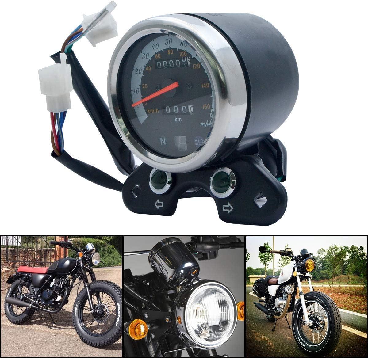 SUNWAN Universal Motorcycle Speedometer Motorbike Digital Odometer Mileage Gear Display Gague Tachometer with Blacklight