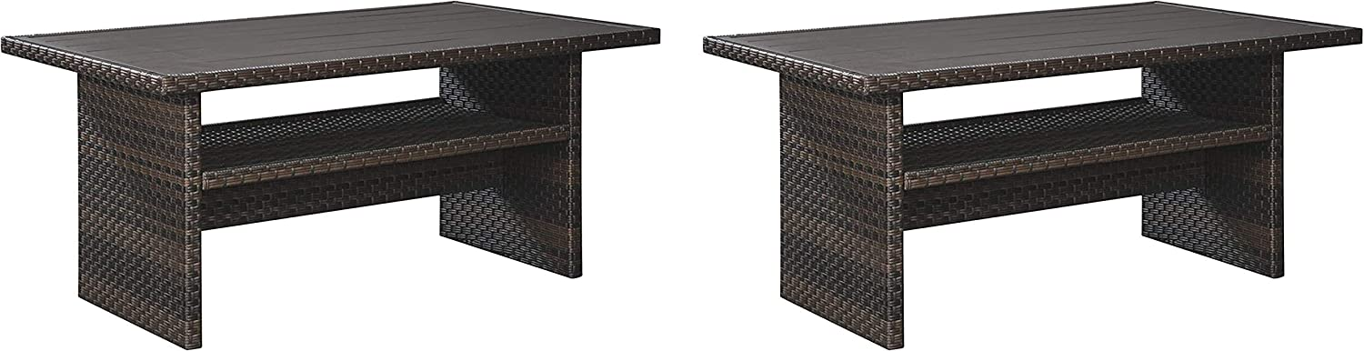 Signature Design by Ashley P455-625 Easy Isle Multi-Use Table, Dark Brown/Beige (Pack of 2)