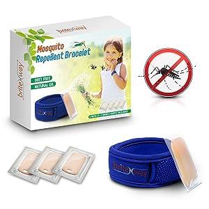 Mückenschutz BLAUES Armband - All Natural wasserdichte Bekämpfer Armbändchen plus 4 Nachfüllungen - Deet Free Schädlingsbekämpfung Ameisen und Insekten Schutz kein Spray -Drinnen, Draußen -Sicher für Kinder, Babys, Kleinkinder