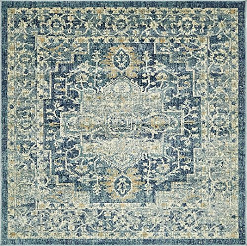 A2Z Rug Navy Blue 6' FT-Round St. Martin Collection Area rug - Vintage Inspired Overdyed Perfect for Living Dinning Room and Bedroom Rugs, Interior Modern Floor Carpet Design