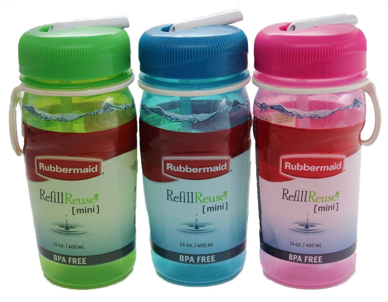 Rubbermaid Mini Refill Reuse Sip Bottle, 14-ounce, Set of 3, Blue, Green, Pink, One each