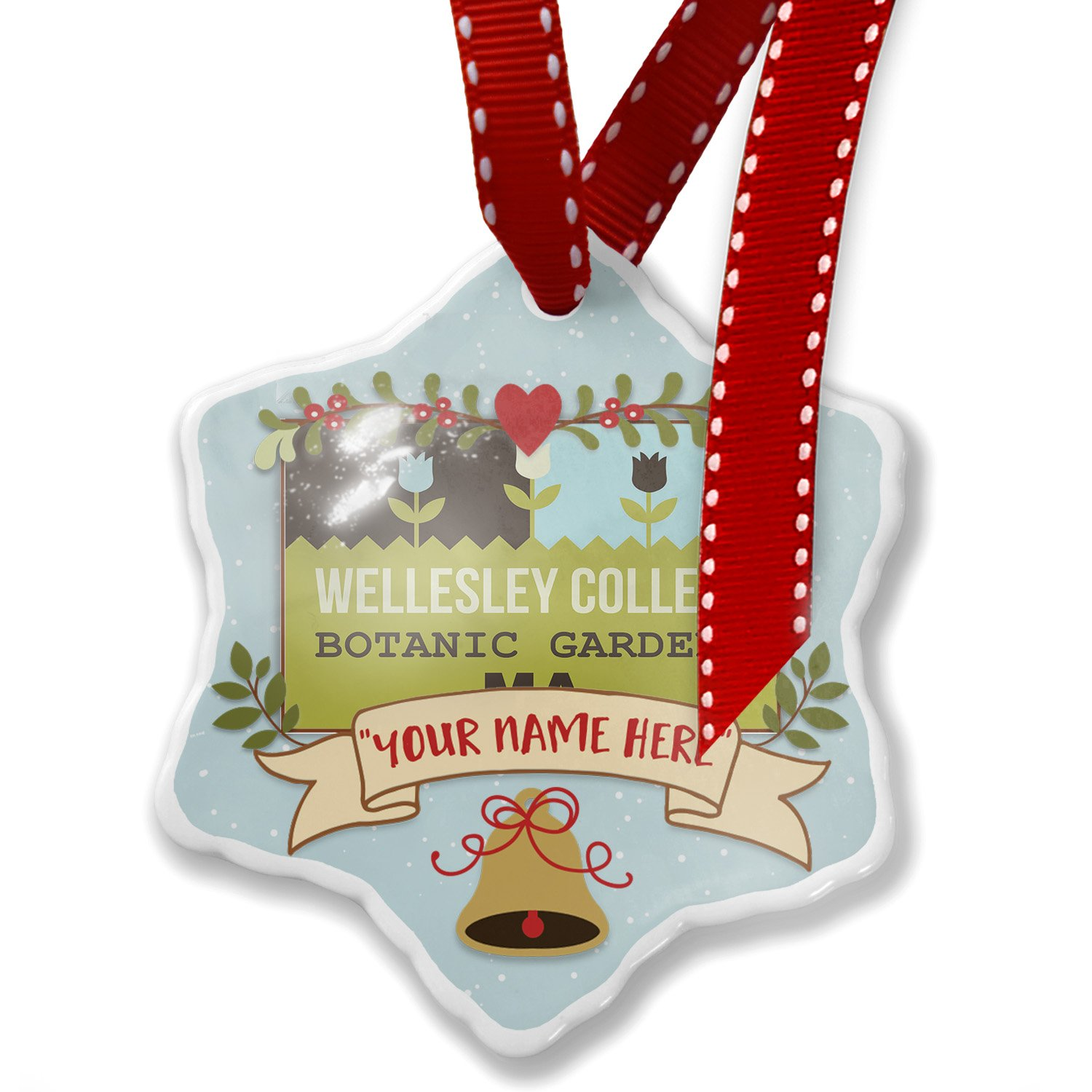 Add Your Own Custom Name, US Gardens Wellesley College Botanic Gardens - MA Christmas Ornament NEONBLOND