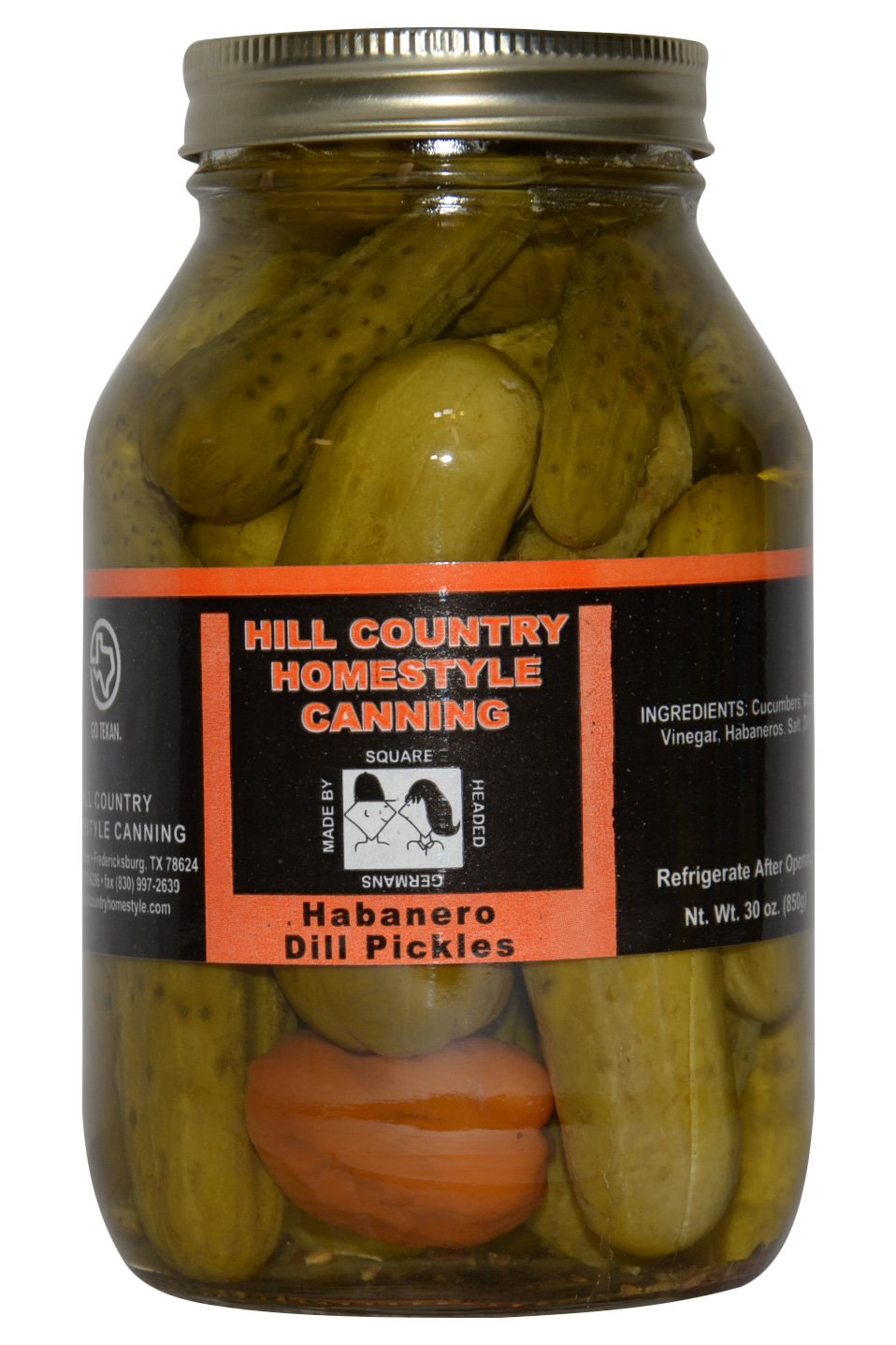 Texas Hill Country Habanero Dill Pickles 32 oz