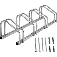Todeco - Steel Bike Stand for 4 Bikes, Silver Floor Bike Rack for Garage,Family Bike Rack, Floor and Wall Mount, 99 x 32…