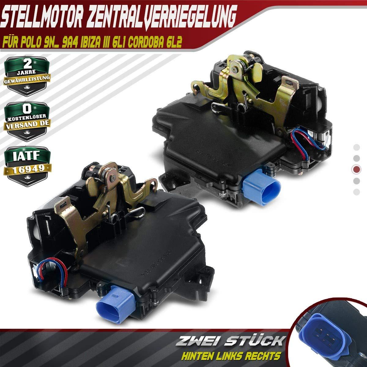 2X Stellelement Zentralverriegelung Hinten Links Rechts f/ür Polo 9N/_ 9A4 Ibiza III 6L1 Cordoba 6L2 Schr/ägheck 2001-2009 3B4839015AG