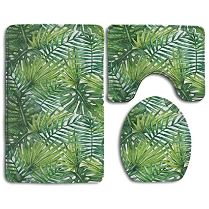 Superbe Guiping Tropical Exotic Banana Forest Palm Tree Leaves Watercolor Design  Image Decorative Bathroom Rug Mats Set