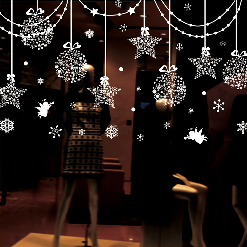 Christmas decorations hanging balls shinning stars snowflakes and christmas decorations hanging balls shinning stars snowflakes and white angels for home shop window coverings decor wall decals stickers holiday celebration amipublicfo Images