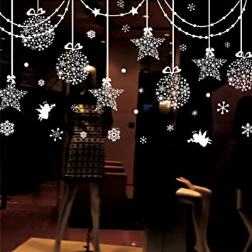 Christmas Decorations Hanging Balls Shinning Stars Snowflakes And - Snowflake window stickers amazon