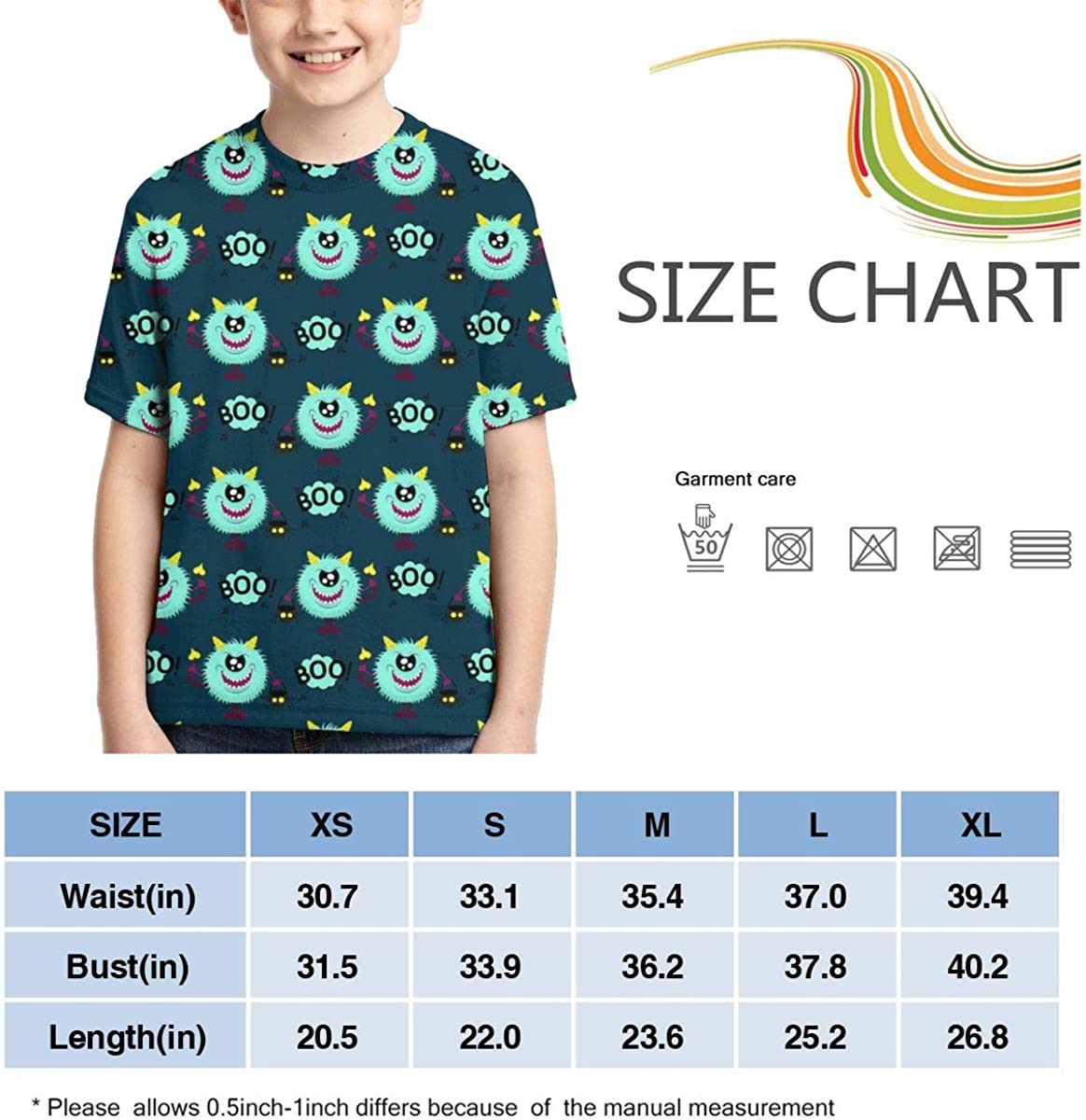 HHTZTCL Horns and A Tail A Skull Halloween Boys Print Graphic Tee Short Sleeve T-Shirt