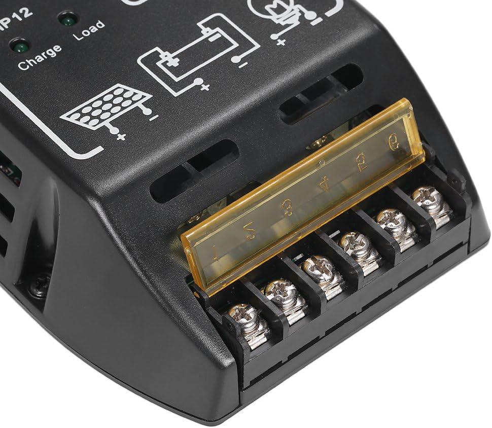 color: negro Controlador de carga del panel solar de 20A 12V 24V Regulador de bater/ía Regulador solar de protecci/ón segura para uso del sistema de panel solar