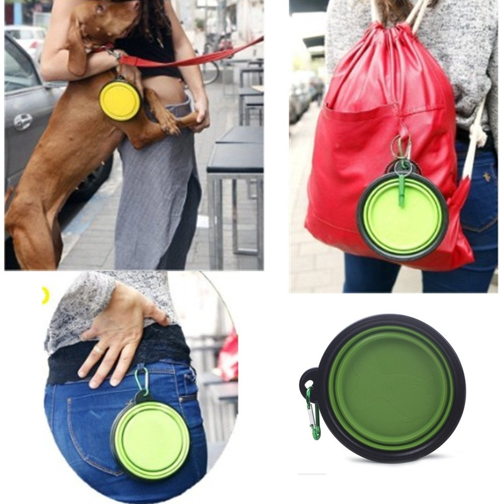 Collapsible Dog Bowl Food Silicone BPA Free FDA Approved Pet Portable Travel Bowl Food Water Feeding 2-4 Packs Foldable Expandable Cup Dish with Carabiner for Large Medium Dogs (blue green red yellow)