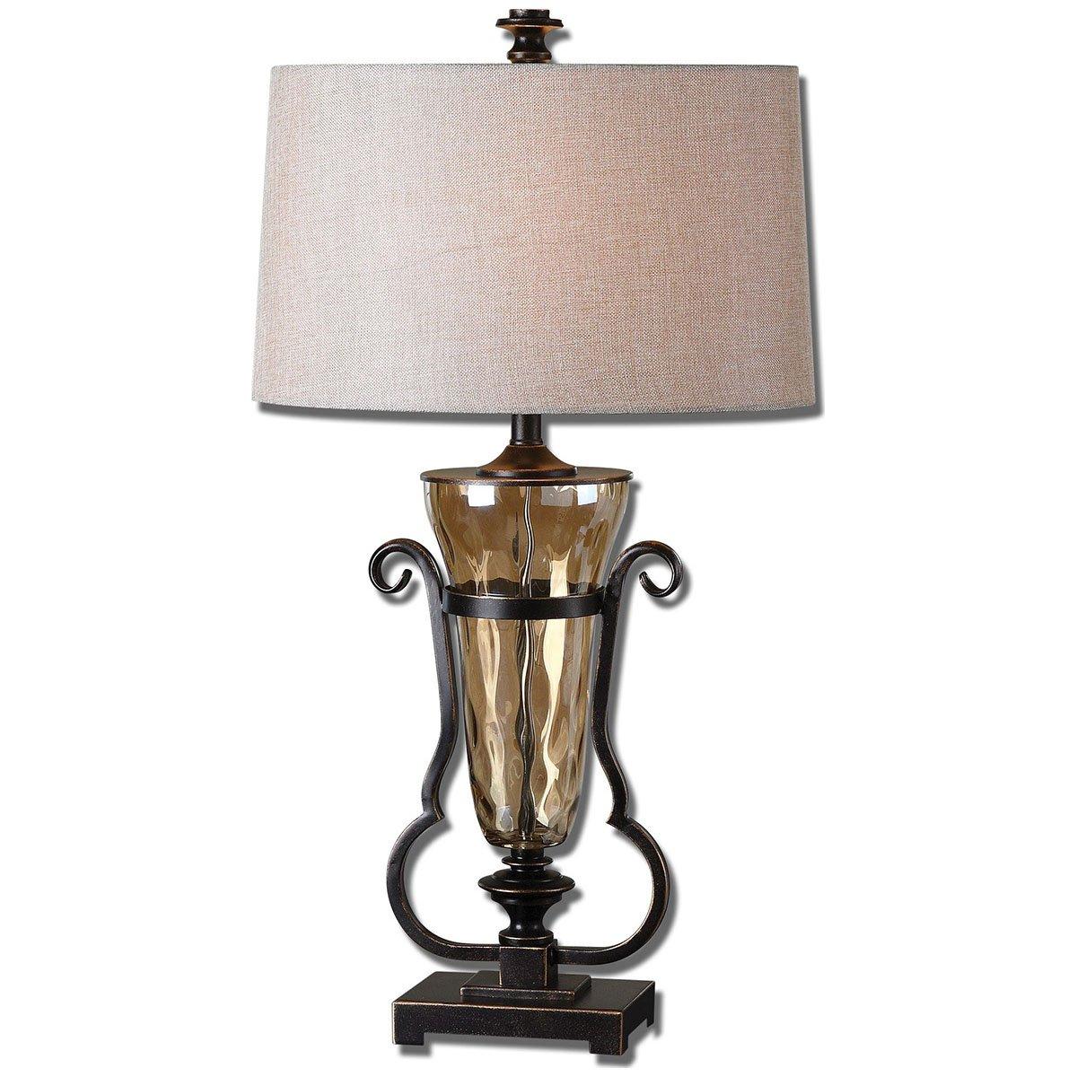 Amazon.com: Uttermost 26594 Aemiliana Glass Table Lamp, Amber: Home U0026  Kitchen