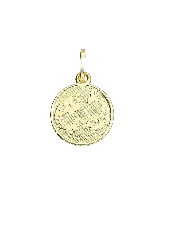 MyGold Sternzeichen Anhänger (ohne Kette) Gelbgold 333 Gold (8 Karat) Klein Ø 12mm Rund Tierkreiszeichen Horoskop Goldkette Halskette Goldanhänger Kettenanhänger Zodiac round MOD-06017 A-06017-G303-Fis