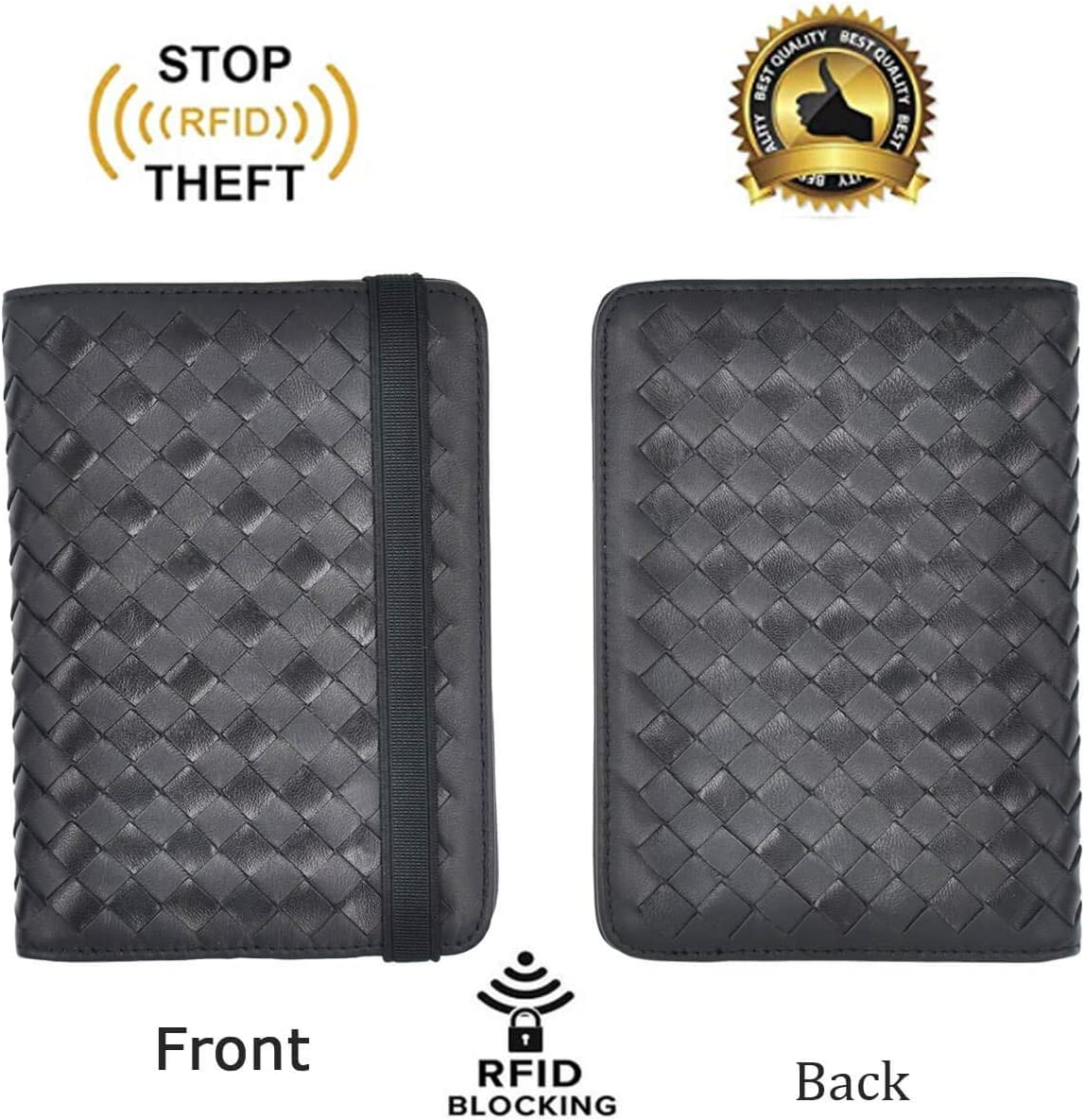 Leather Passport Wallet Holder Case Travel Wallets for Men Women with Elastic Band RFID Blocking