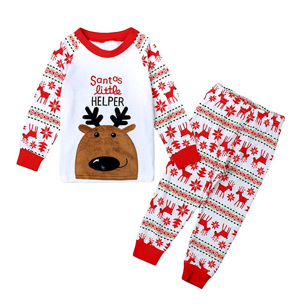 Kinder Baby Jungen Mädchen, Stillshine - Weihnachten Kinder Weihnachten Pyjamas Set Weihnachtsmann Homewear Langarm Cartoon Baumwolle Nachtwäsche (120CM, Stil 1)