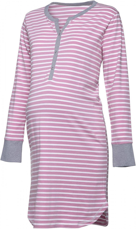 Damen Umstands Streifen Nachthemd mit Stillfunktion Langarm HAPPY MAMA 589p